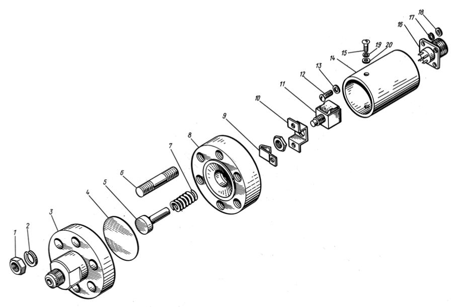 Датчик давления по прорыву мембран